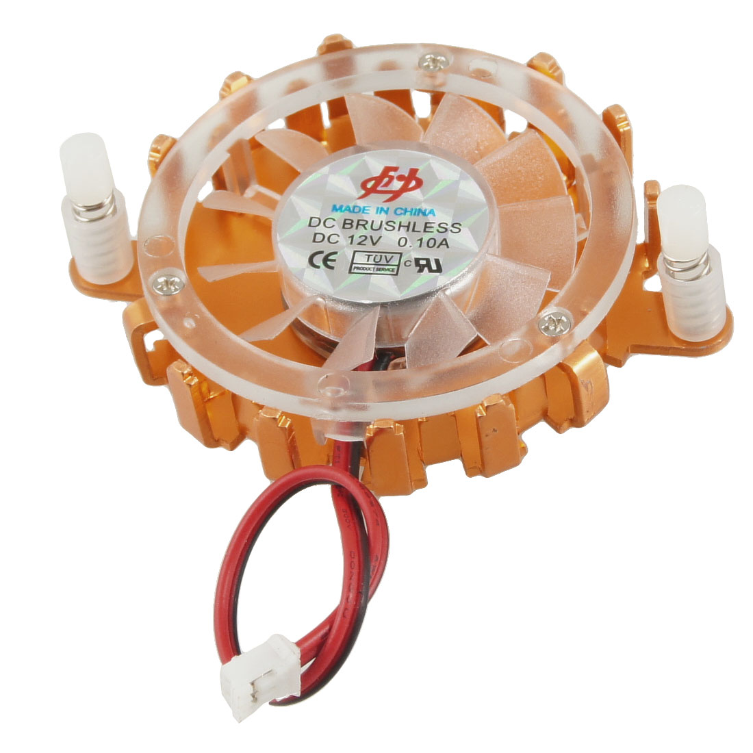 Copper Tone Clear Round Desktop CPU Cooler Cooling Fan