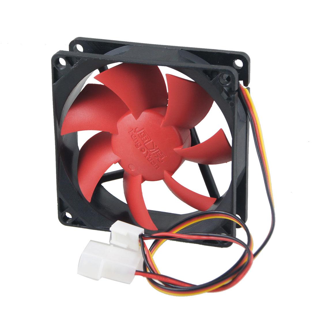 DC 12V 0.3A 3/4 Pin Black Red Square Shape Plastic PC Cooling Fan