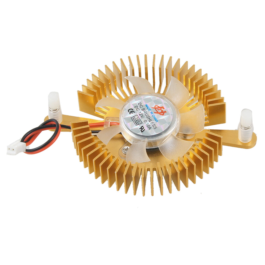 Gold Tone 2 Terminals Connector 7 Blades Round Shaped Cooling Fan for PC Laptop CPU