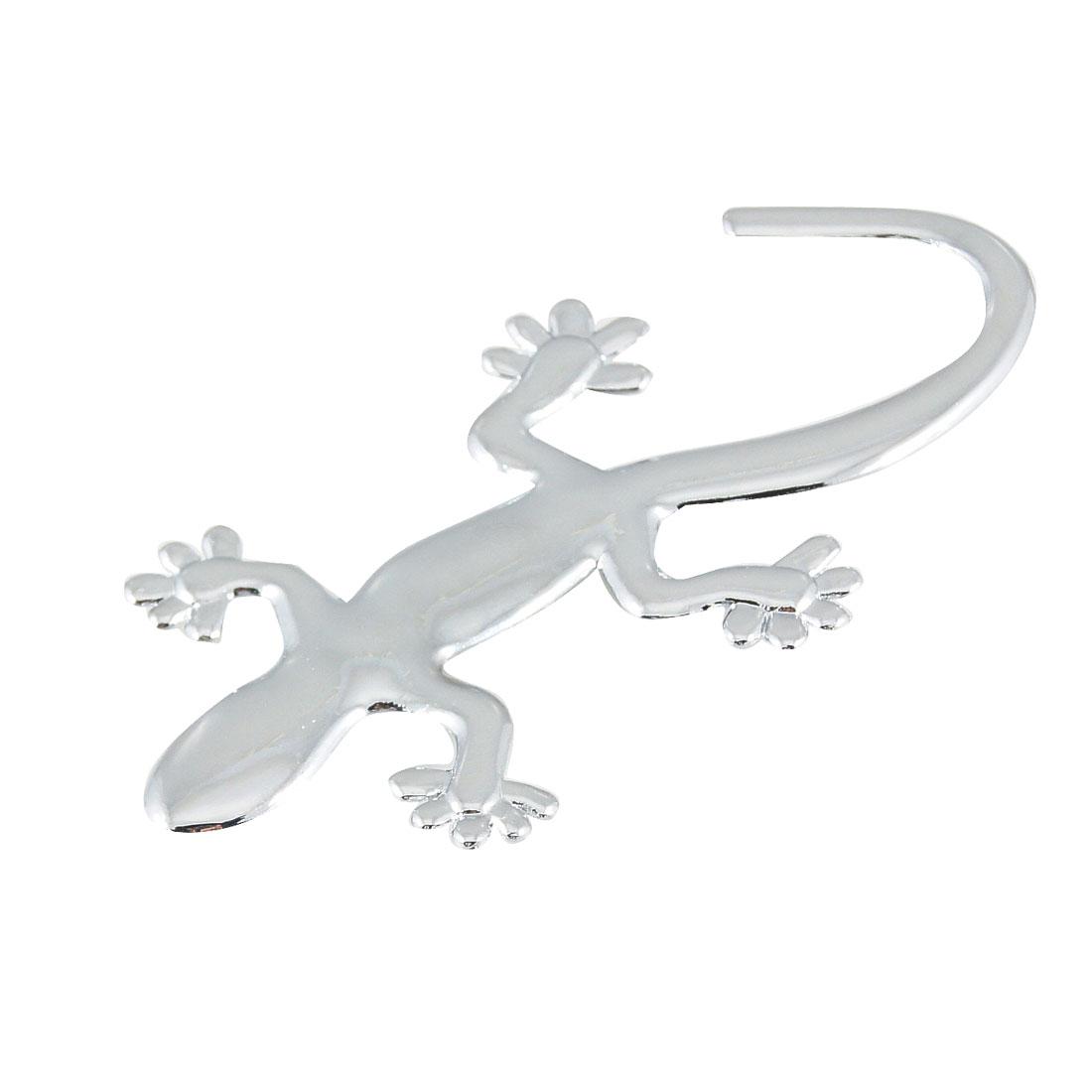 Auto Silver Tone Emblem Gecko Shaped 3D Sticker w Adhesive Tape