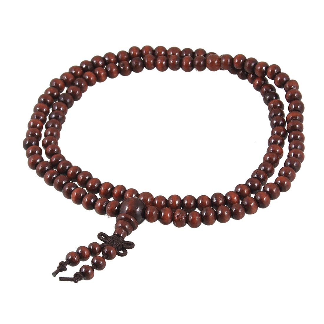 62cm Girth Buddhist Prayer Burgundy Wood Beads Elastic Necklace