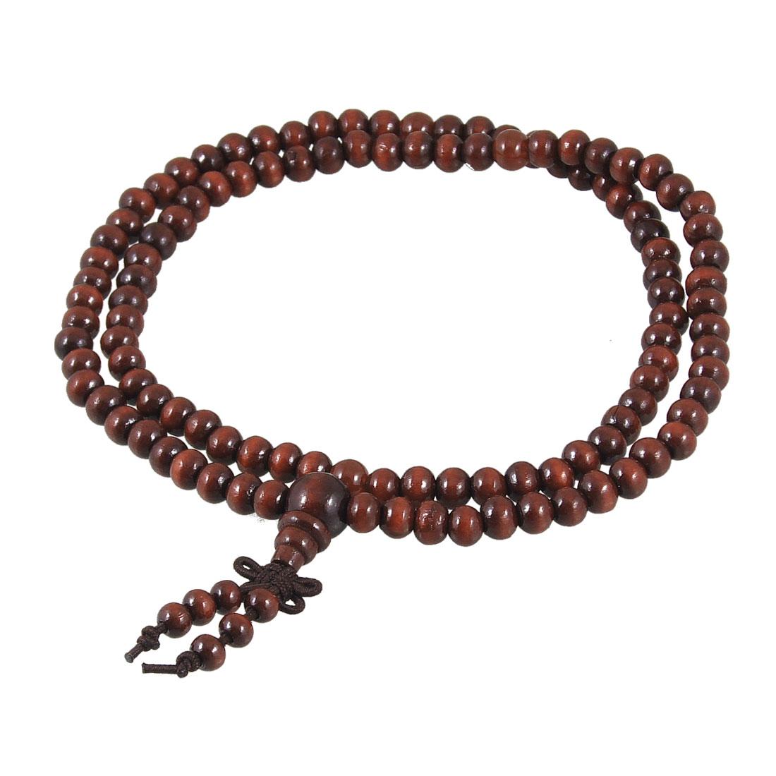 62cm Girth Buddhist Prayer Burgundy Wood Beads Elastic Necklace
