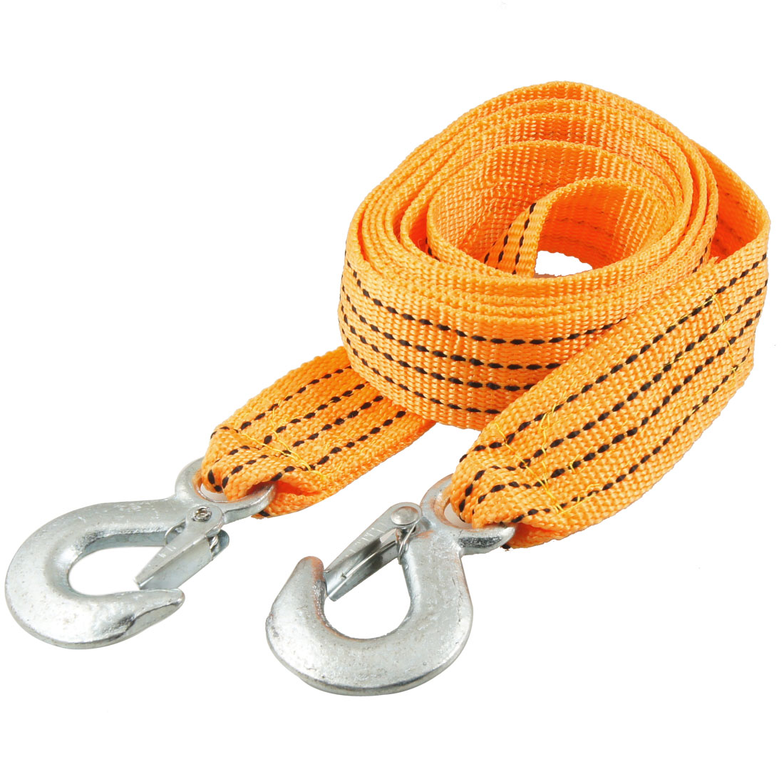 Auto Car 3 Ton Capacity Hook Clasp Orange Black Nylon Tow Rope 2.5M