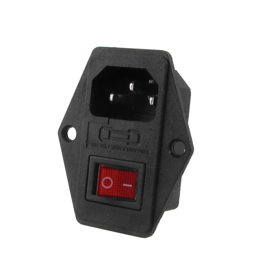 Black Plastic Housing AC 250V 15A 3 Pins C14 Power Socket w Rocker Switch