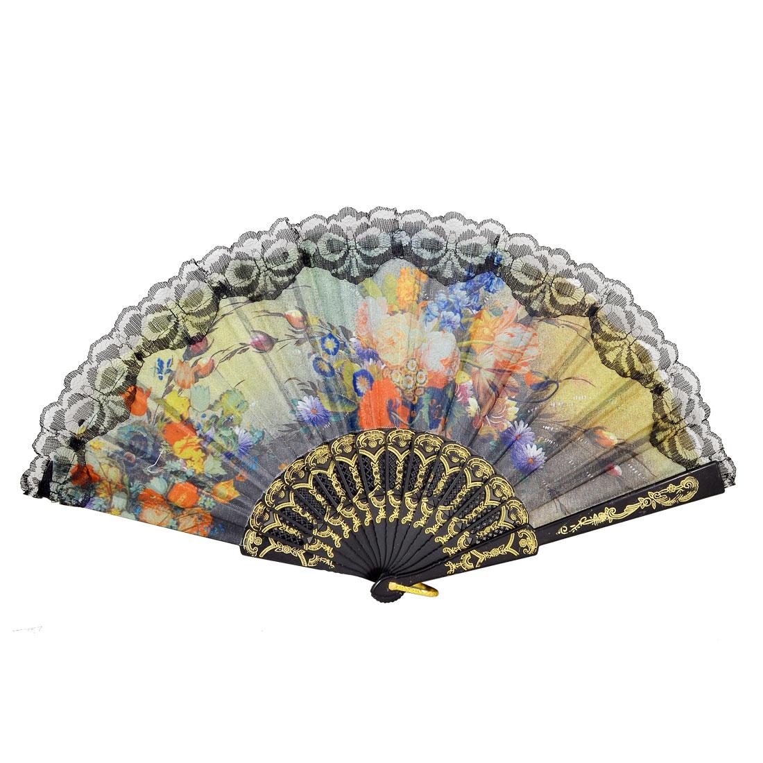 Black Lace Trim Assorted Color Flower Bud Floral Prints Organza Folding Hand Fan