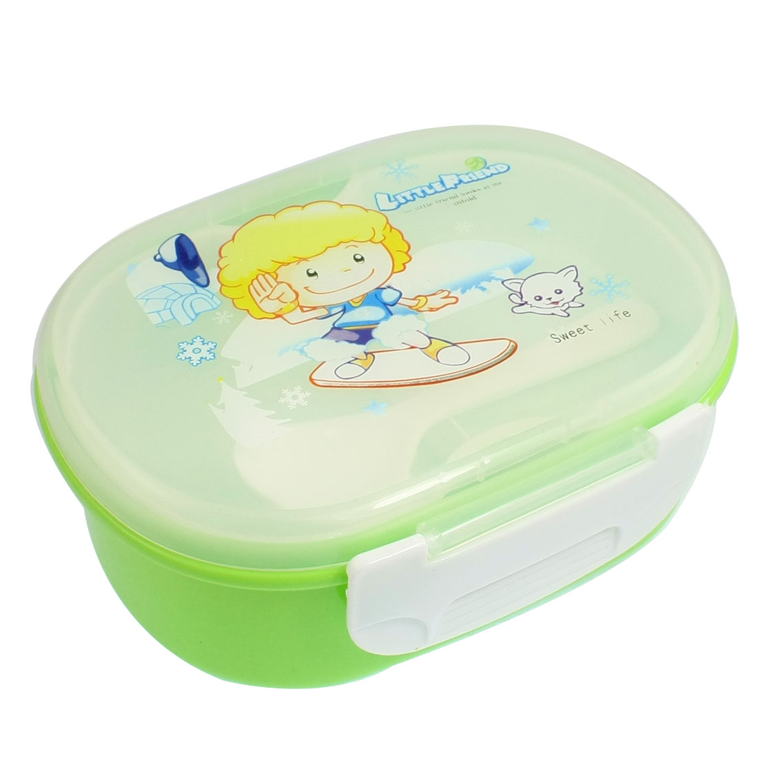 Green Clear White Cartoon Child Print Plastic Lid Lunch Box Food Container