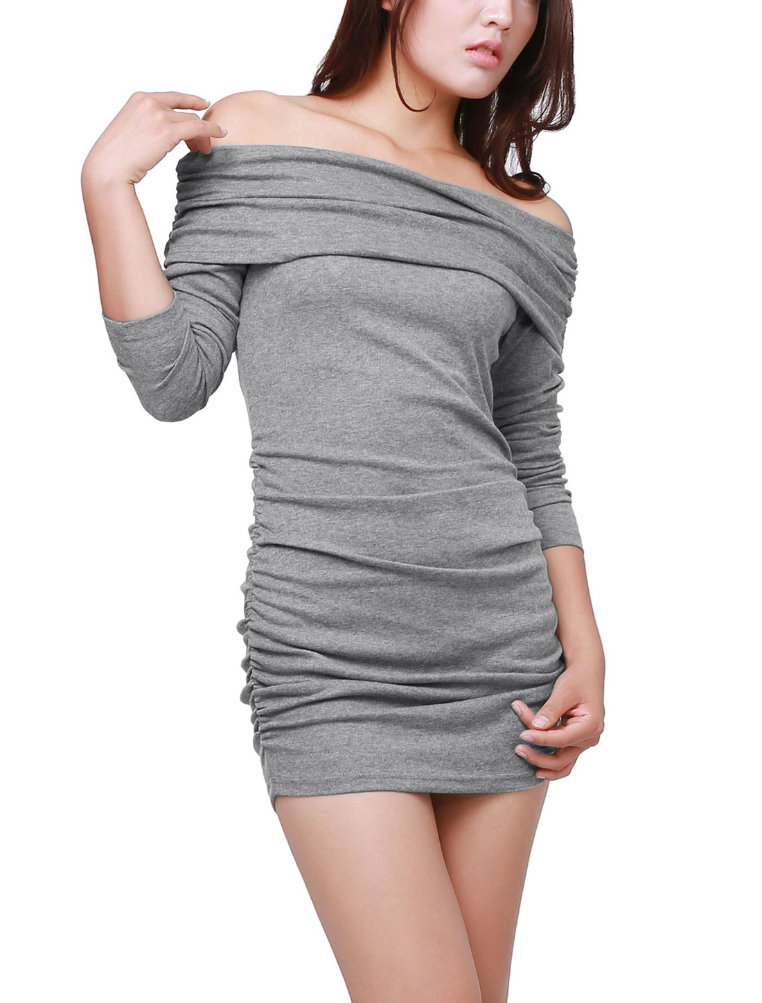 Ladies Dark Gray Elastic Gathered Detail Autumn Mini Dress XS