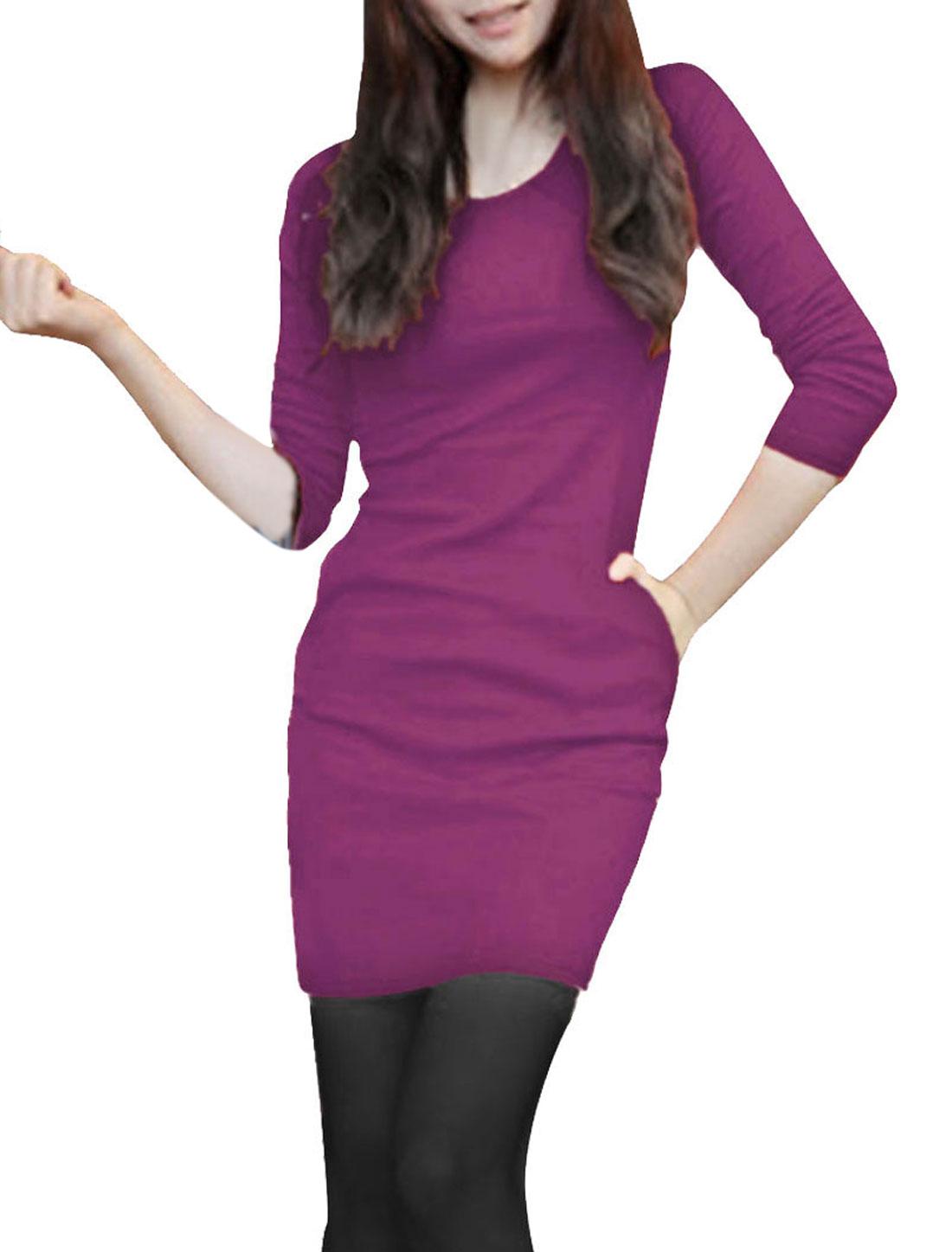 Ladies Purple Long Sleeves Skinny Casual Sexy Tunic Shirt XS