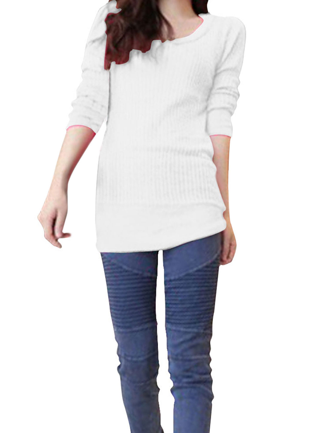 Ladies White Long Sleeve Elastic Cuff Ribbing Leisure Autumn Top Shirt XS
