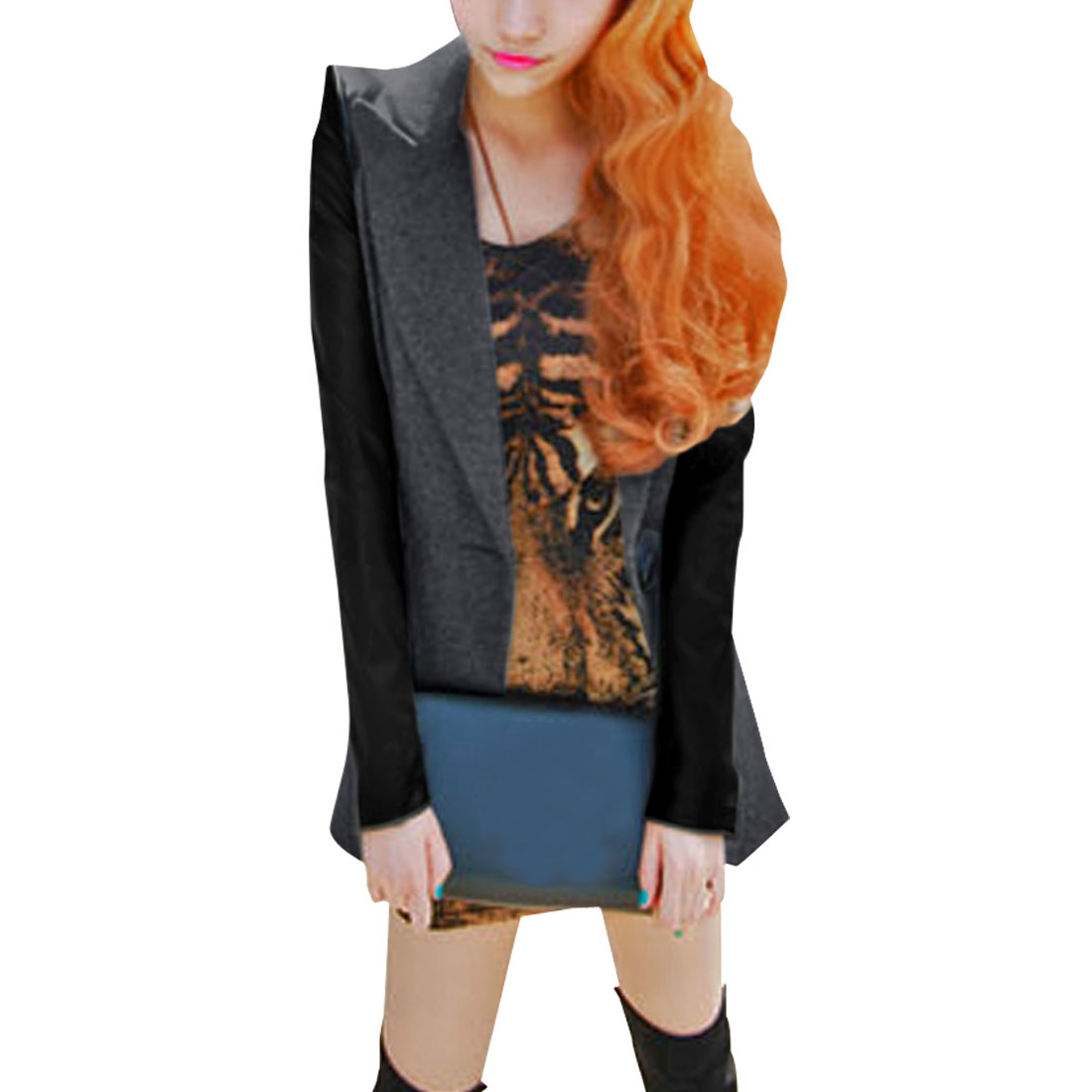 Women Dark Gray Black Long Sleeve One Button Autumn Casual Blazer Coat S
