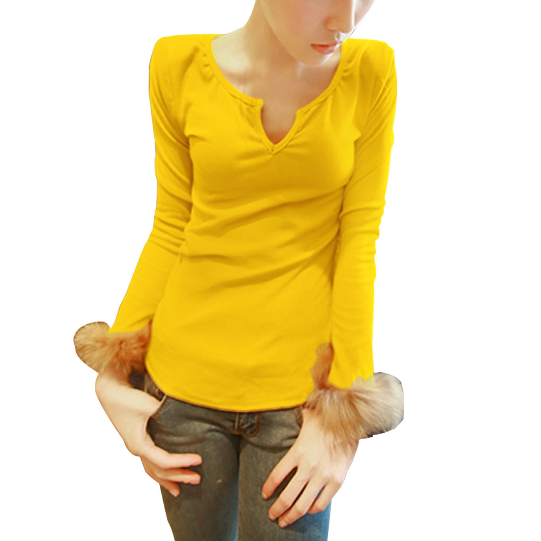 Women Yellow Padded Shoulder Long Sleeve Formfitting Spring Top Shirt XS