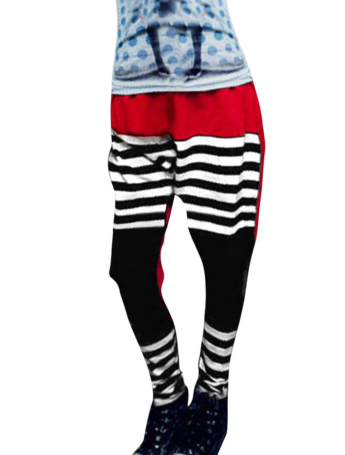 Women Red White Black Elastic Waist Autumn Loose Harem Pants XS