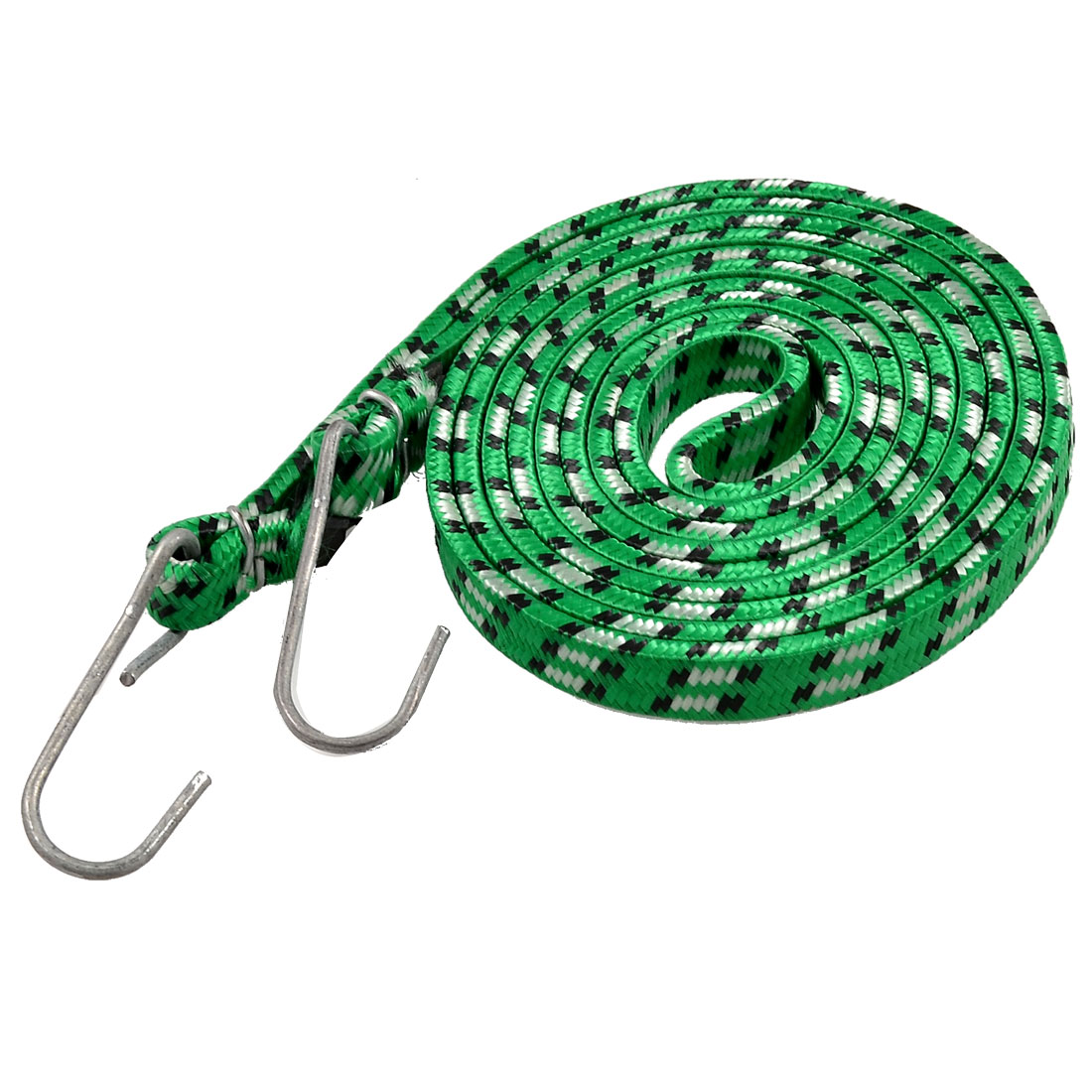 Metal Hook Green Flat Stretchy Bicycle Luggage Bundling Cord Rope 2.28M