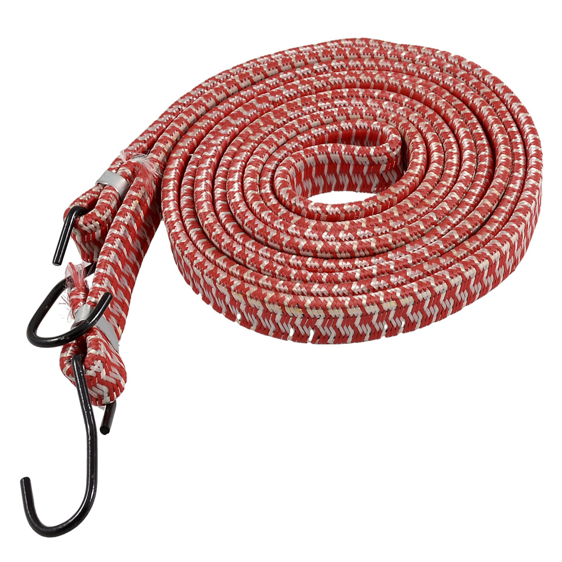 Bicycle Bike Dual Metal Hook Red Braided Stretchy Luggage Cord Rope 2.2M