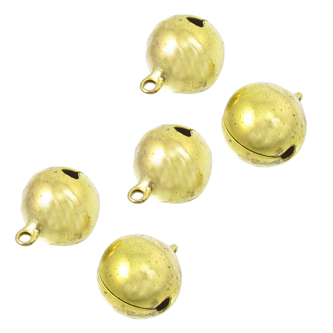 5 Pcs Gold Tone Christmas Tree Party Ornament 20mm Metal Ring Bells