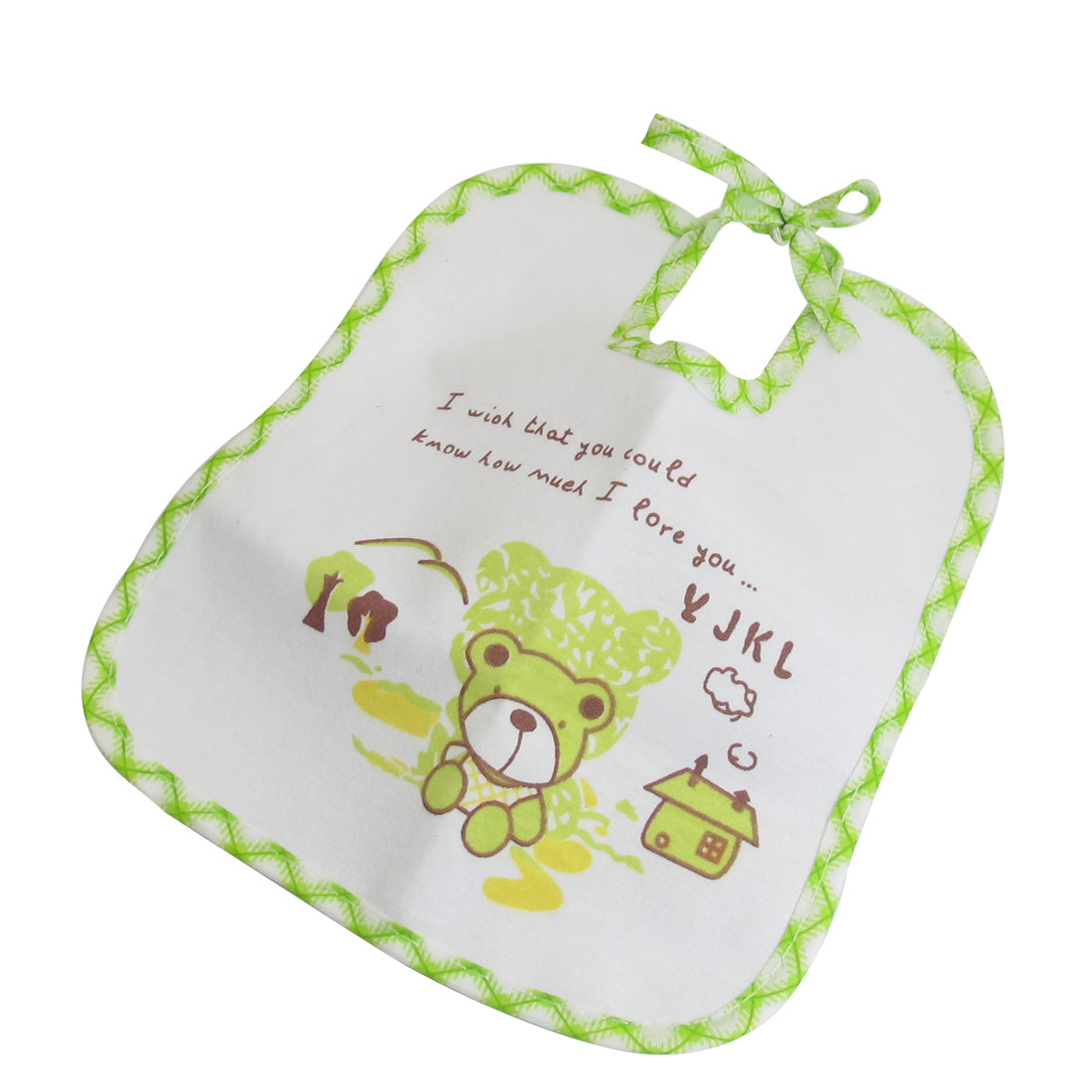 White Light Green Cartoon Bear Print Toddler Bibs Soft Waterproof Saliva Towel