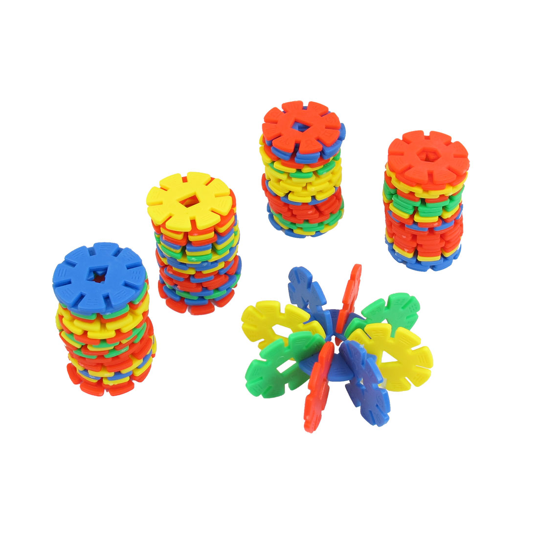 Colorful Plastic Snowflake Shape DIY Toy Building Blocks for Children
