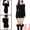 Ladies Black Off Shoulder Stretchy Form Fitting Mini Dress XS