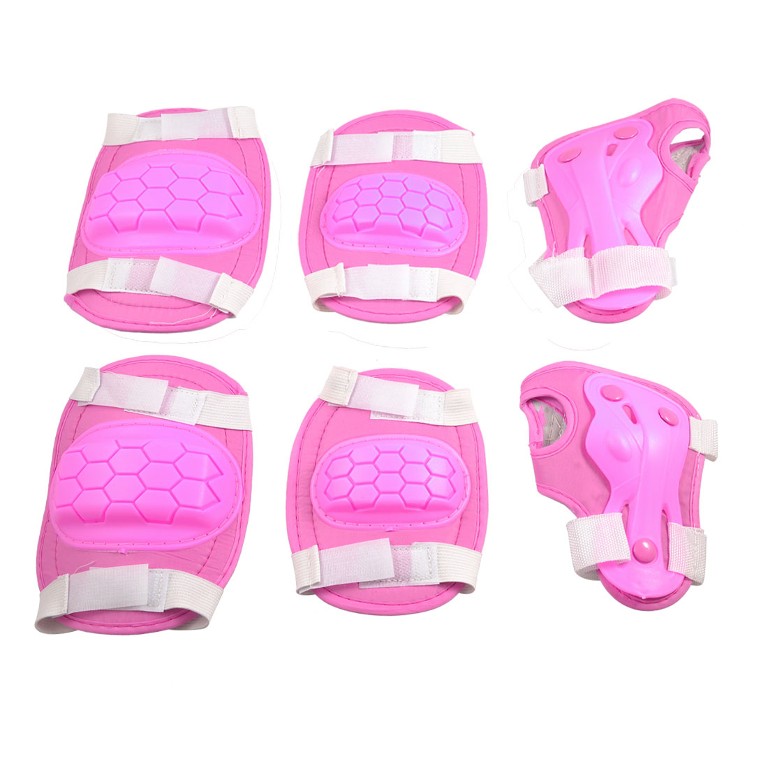 Child Skating Plastic Pads Palm Knee Elbow Support Protector Set Pink