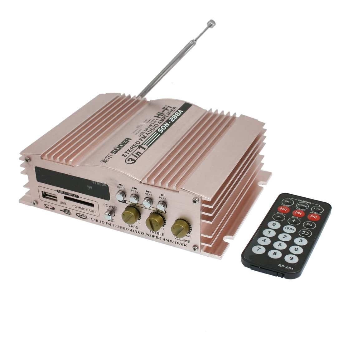 DC 12V 5A 3 in 1 SD FM Radio USB Audio Power Amplifier 600W