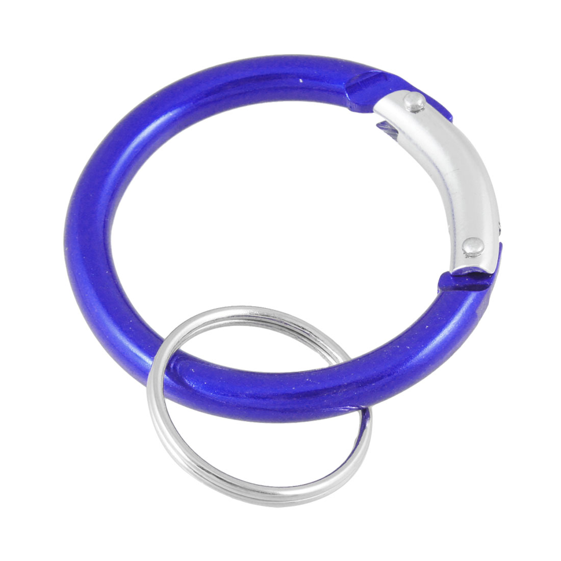 "Keys Holder Royal Blue Spring Loaded Gate Circle Carabiner Key Ring 1"" Dia"