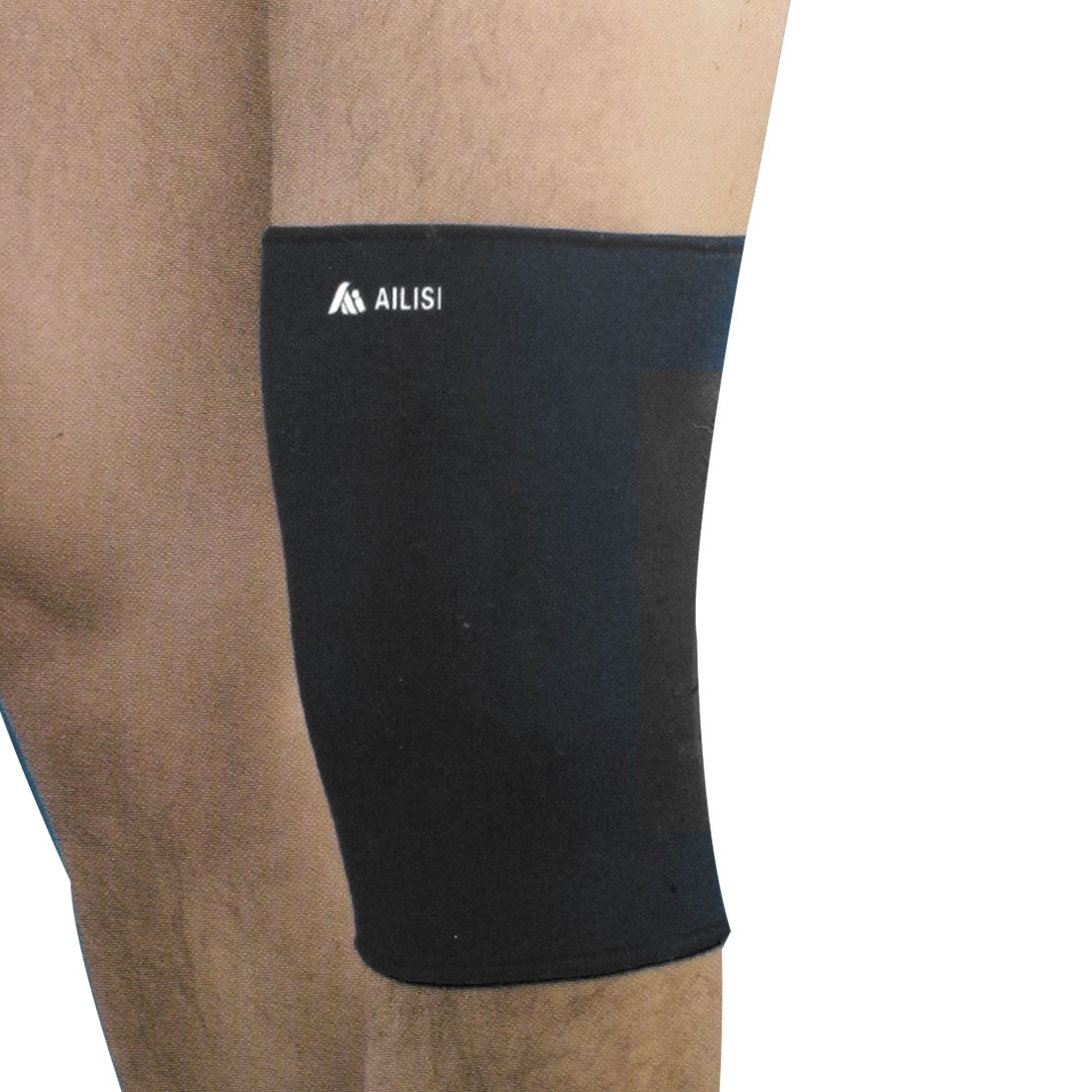 Black Elastic Sleeve Knee Warmer Breathable Support Brace for Men