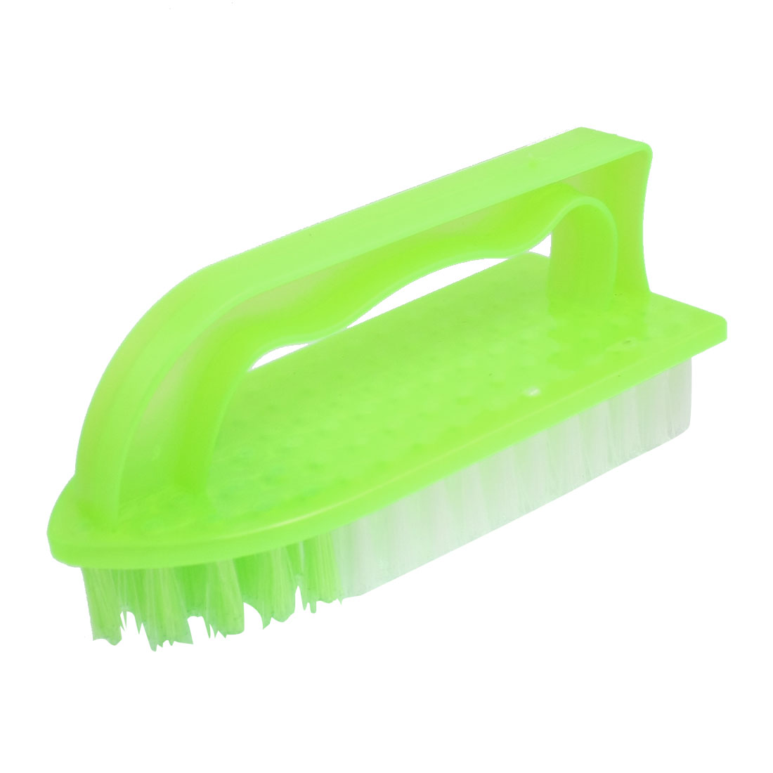Green Yellow Plastic Handgrip Clothes Shoes Cleaning Scrub Brush