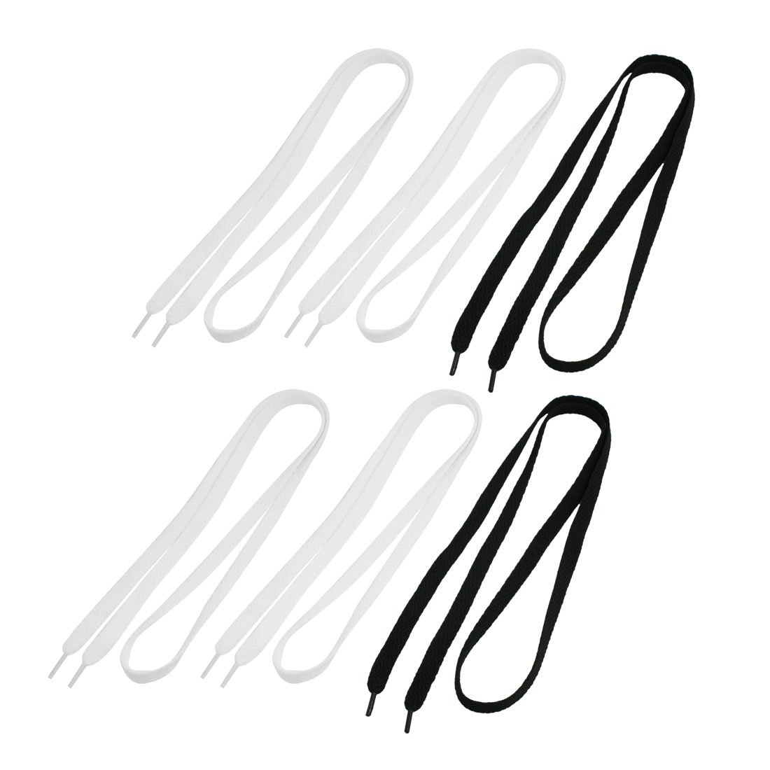 Unisex 3 Pairs White Black Nylon 1cm Wide Flat Shoelaces for Sneakers