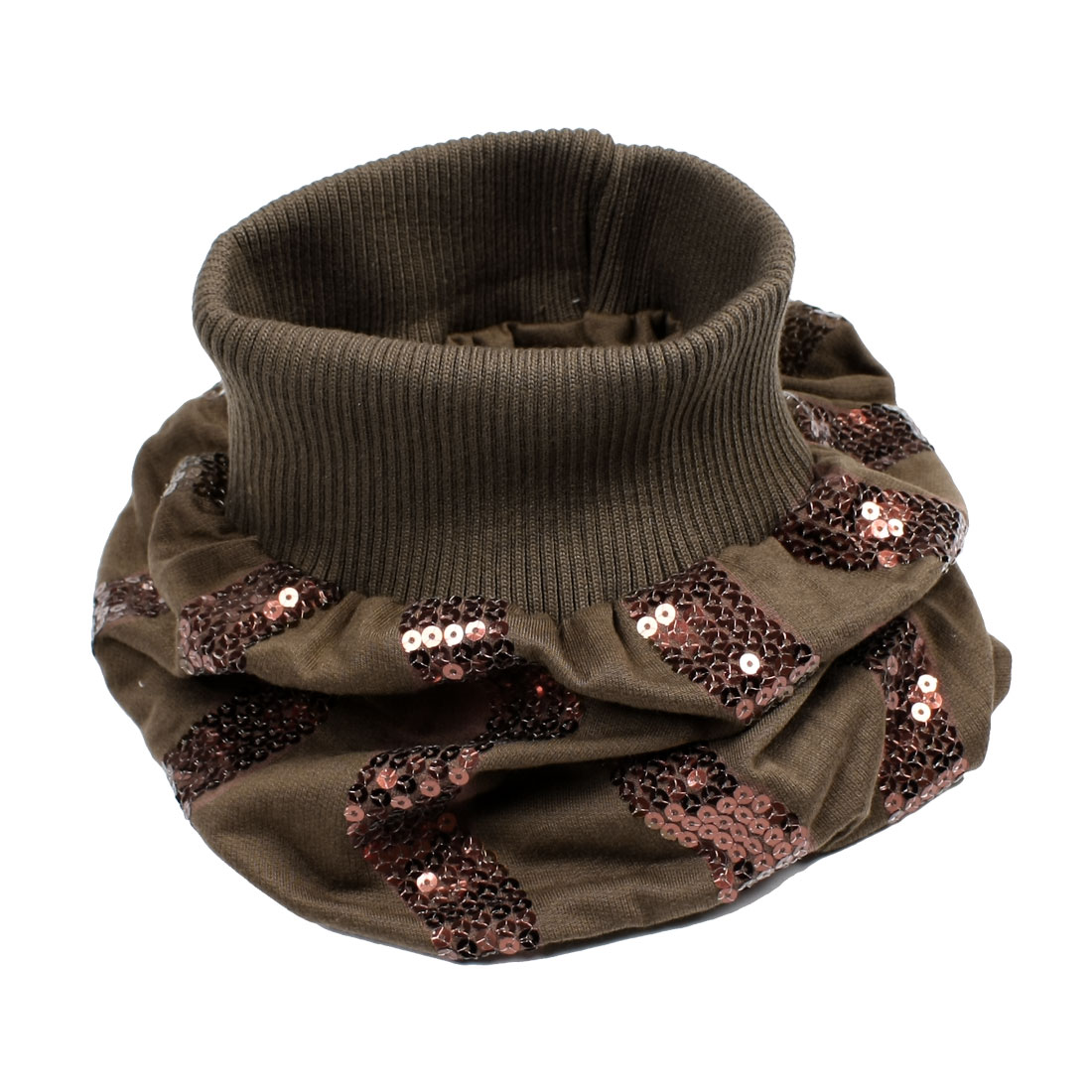 Lady Glittery Sequin Decor Elastic Neckerchief Hat Cap Warmer Brown