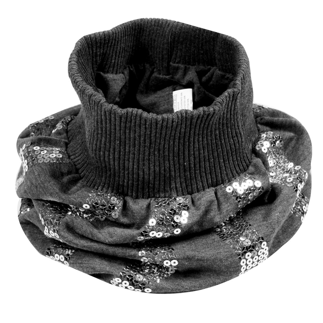 Women Silver Tone Sequin Decor Elastic Neckerchief Hat Cap Warmer Gray