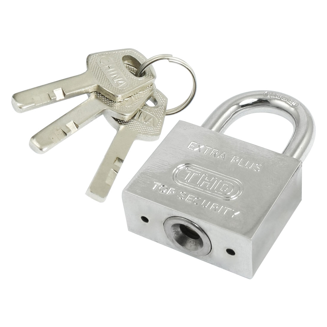 40mm Width Silver Tone Metal Shackle Security Padlock w 3 Keys