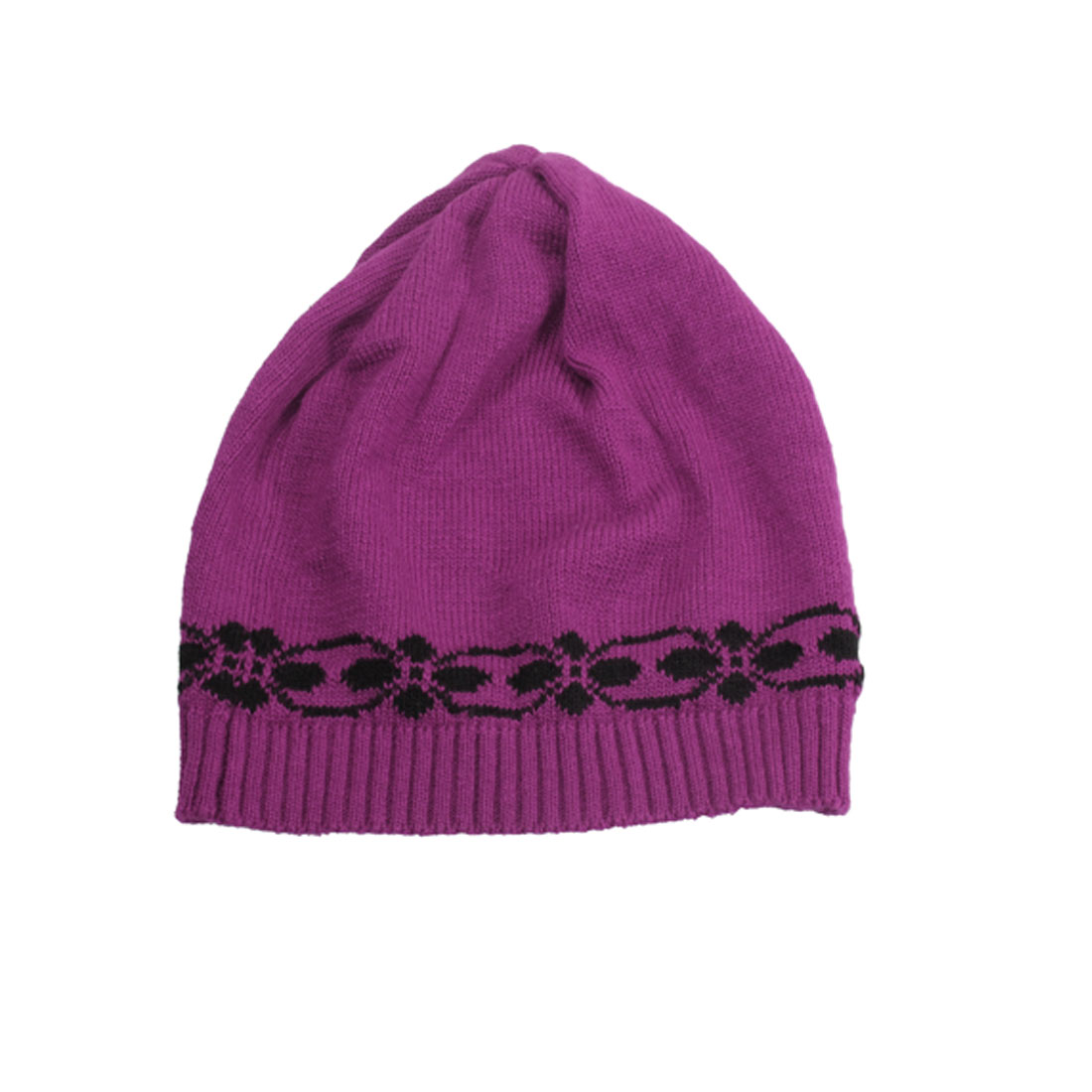 Women Winter Floral Prints Fuchsia Ribbed Cuffs Ski Knit Beanie Hat Skull Cap