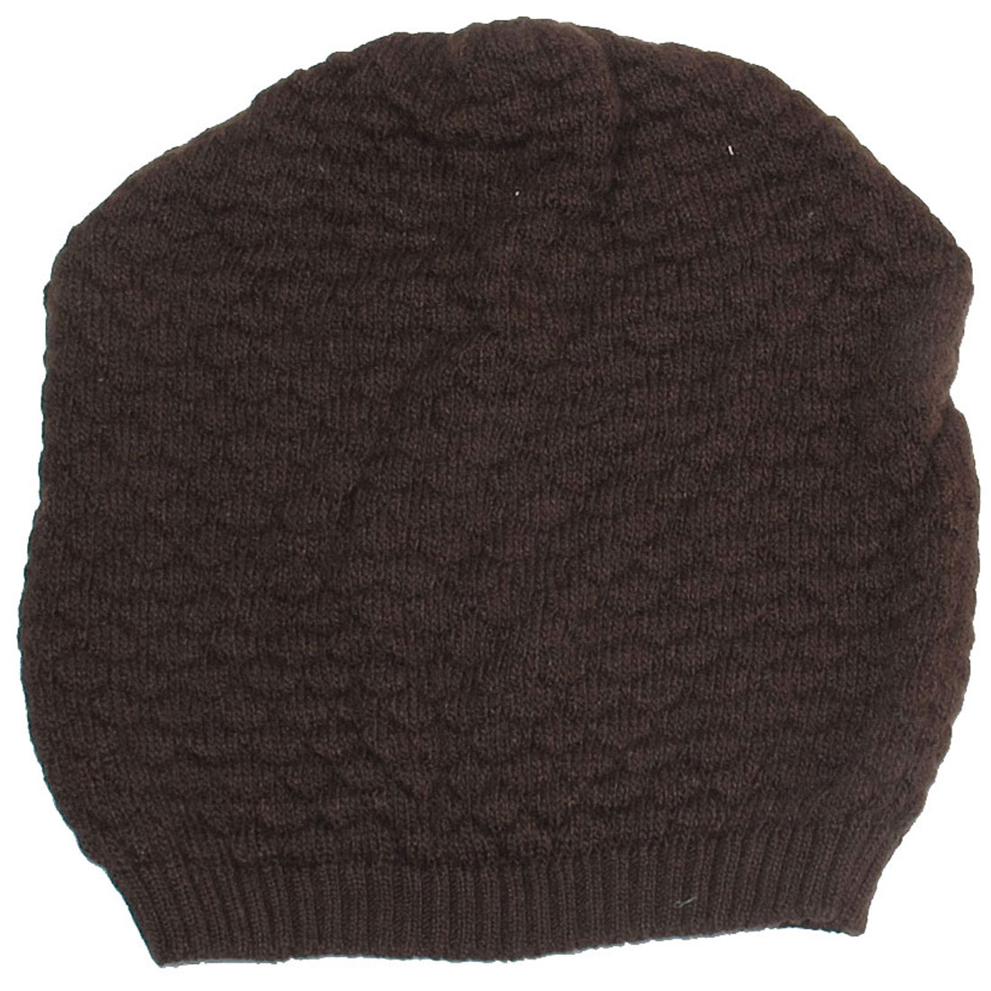 Womens Brown Fish Scales Texture Winter Warm Knit Beanie Hats