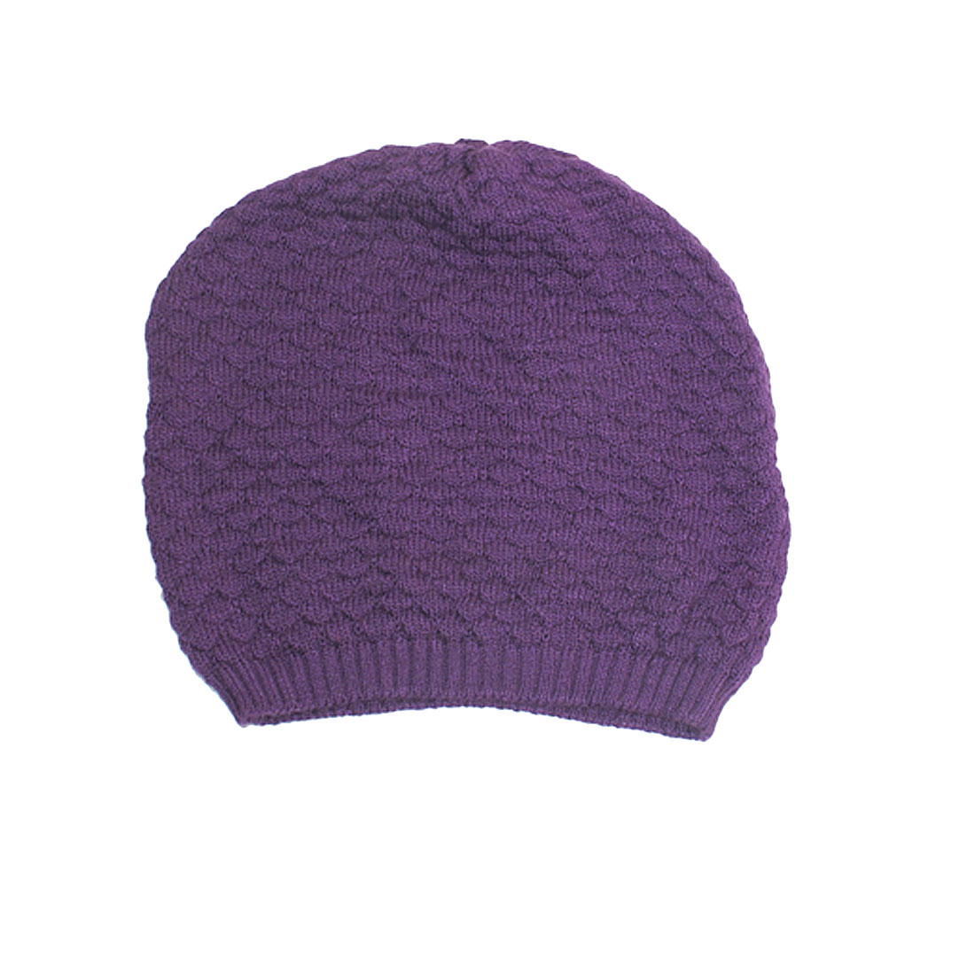 Womens Purple Fish Scales Texture Winter Warm Soft Knit Beanie Caps