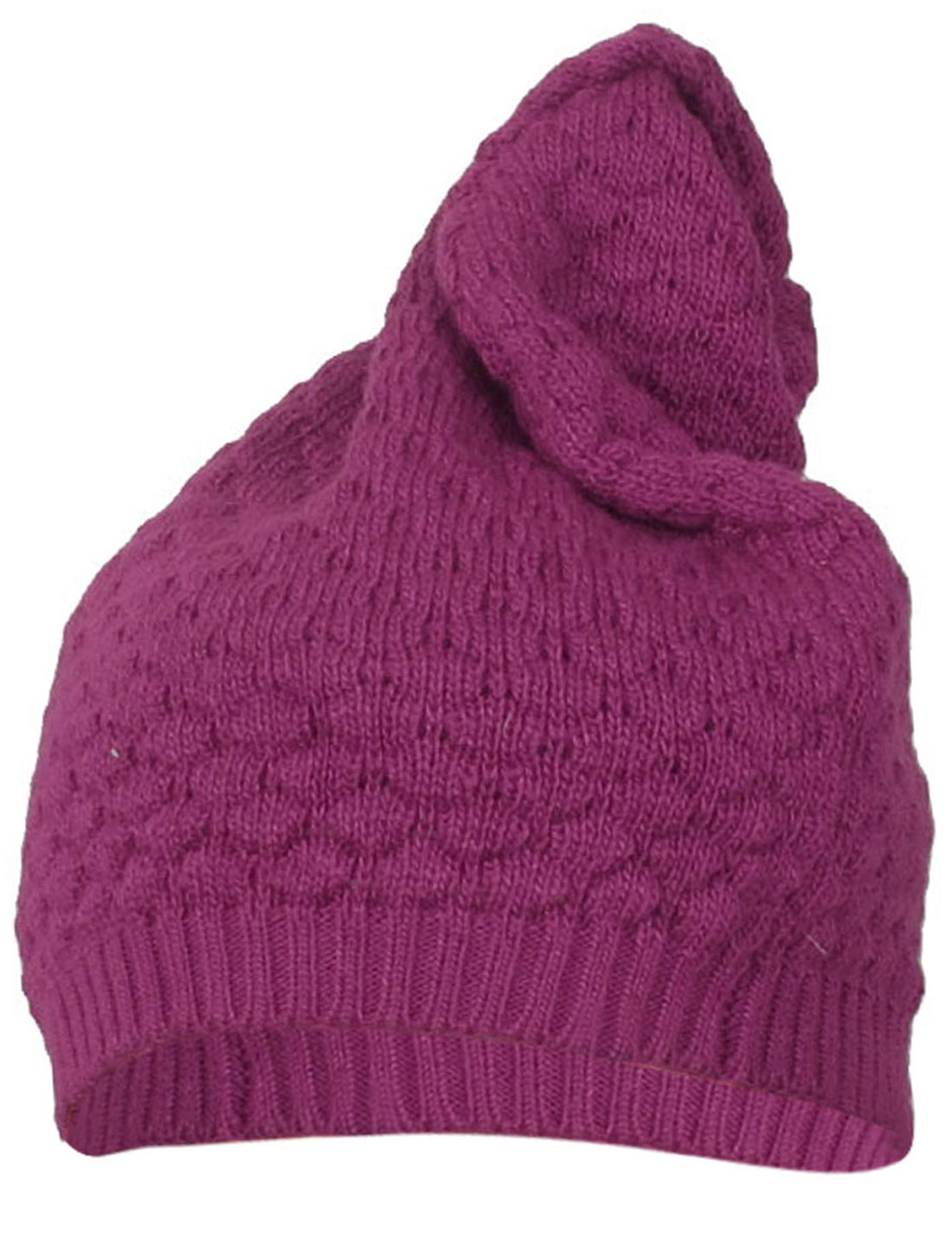 Fushcia Fish Scales Texture Winter Warmer Knitted Beanie Hat for Ladies