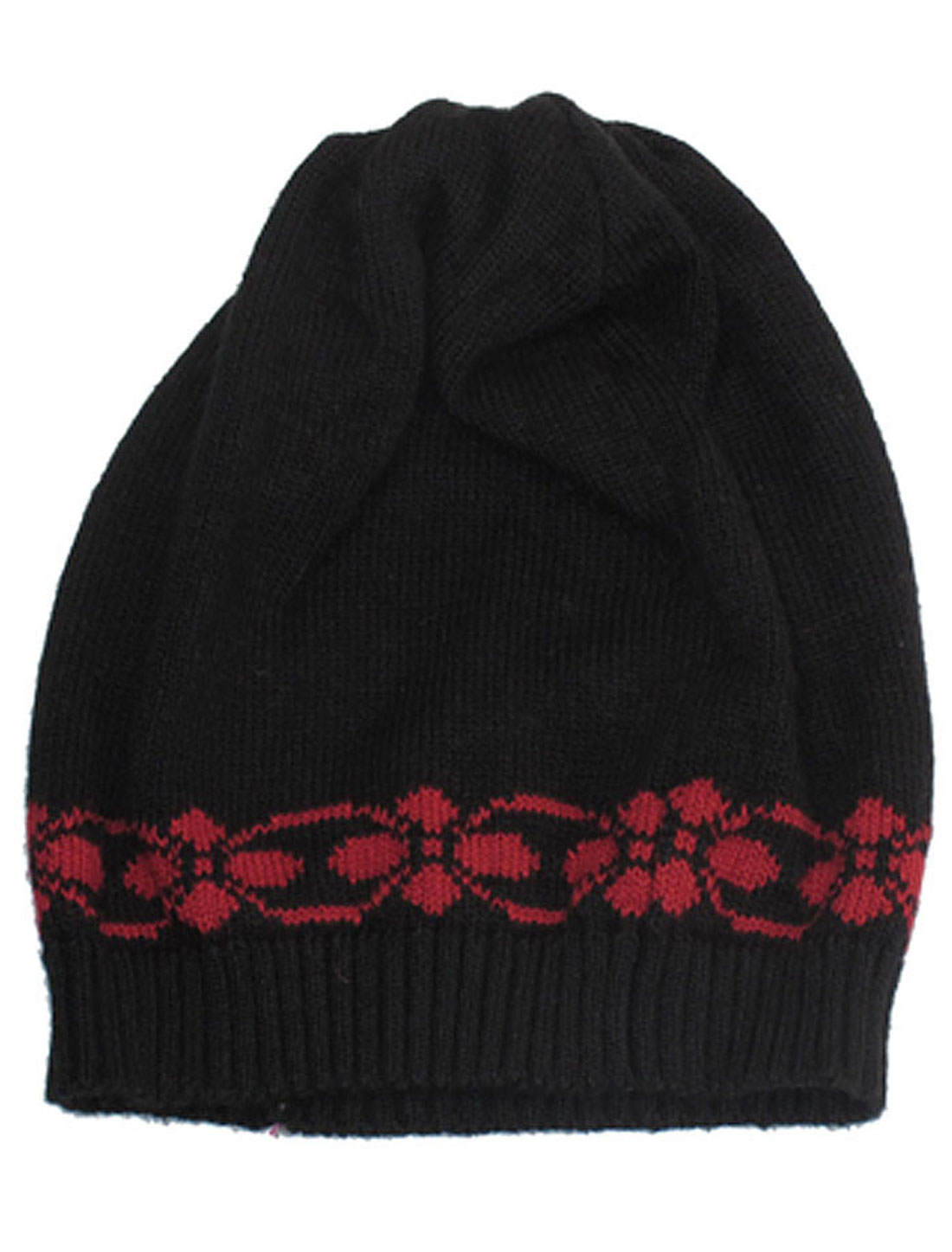 Black Warm Floral Prints Knit Beanie Hat Winter Skull Cap for Lady Women