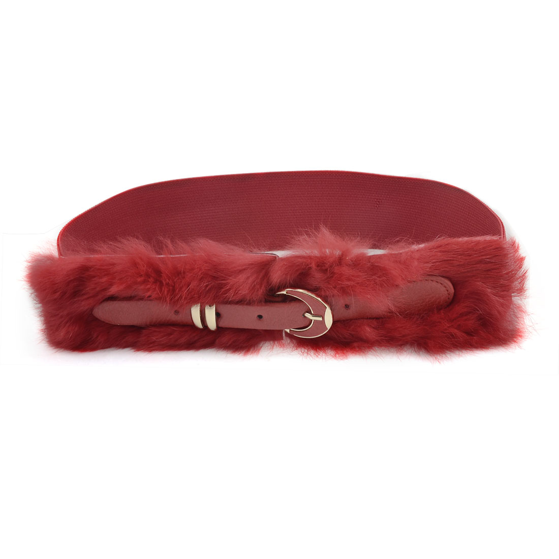 Single Pin Buckle Red Faux Fur Textured Stretchy Waistband Belt for Ladies