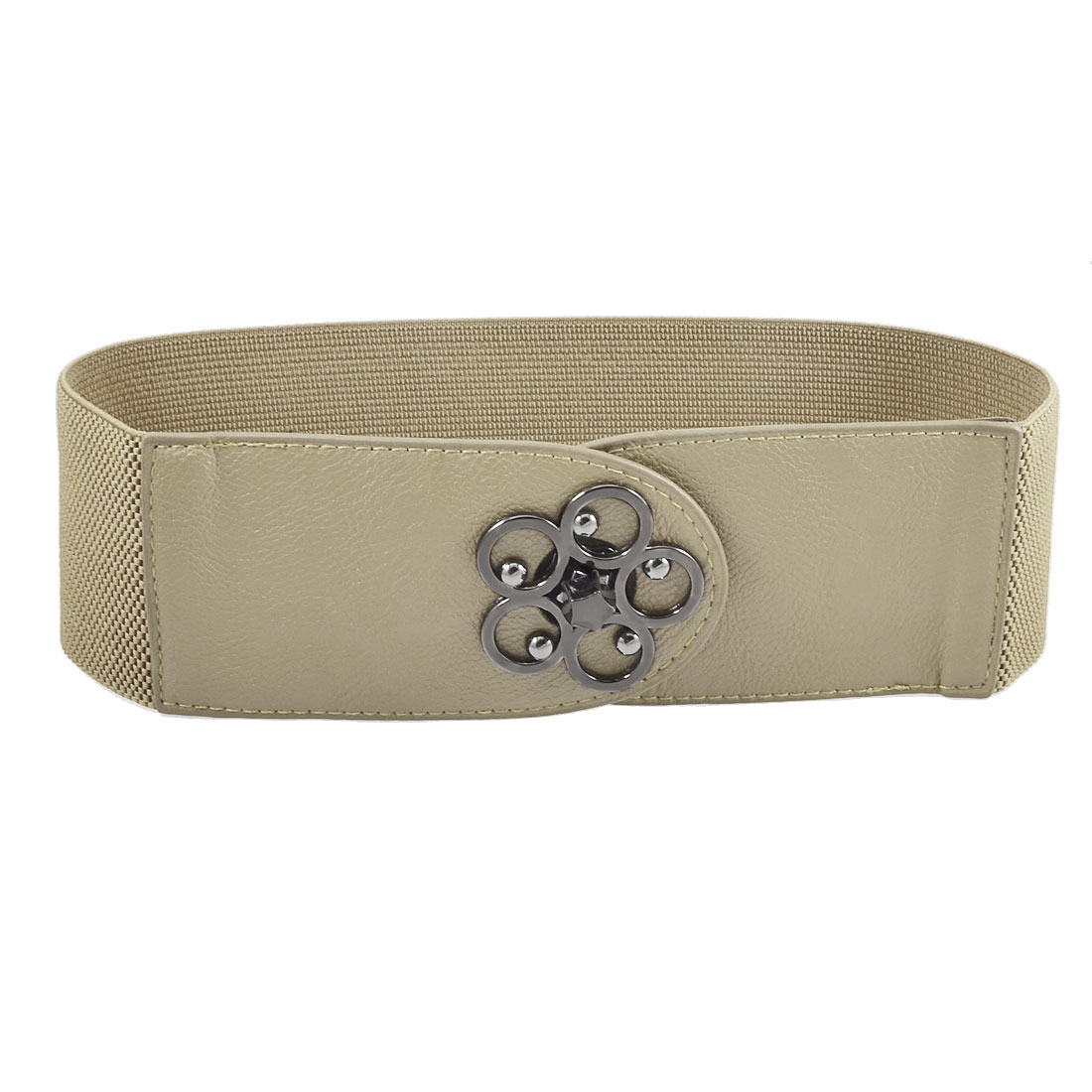 Ladies Hollow Flower Accent Turnlock Buckle Beige Faux Leather Elastic Belt
