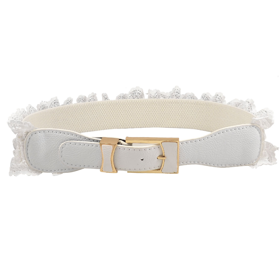 White Lace Accent Faux Leather Stretchy Belt Waistband for Lady Woman