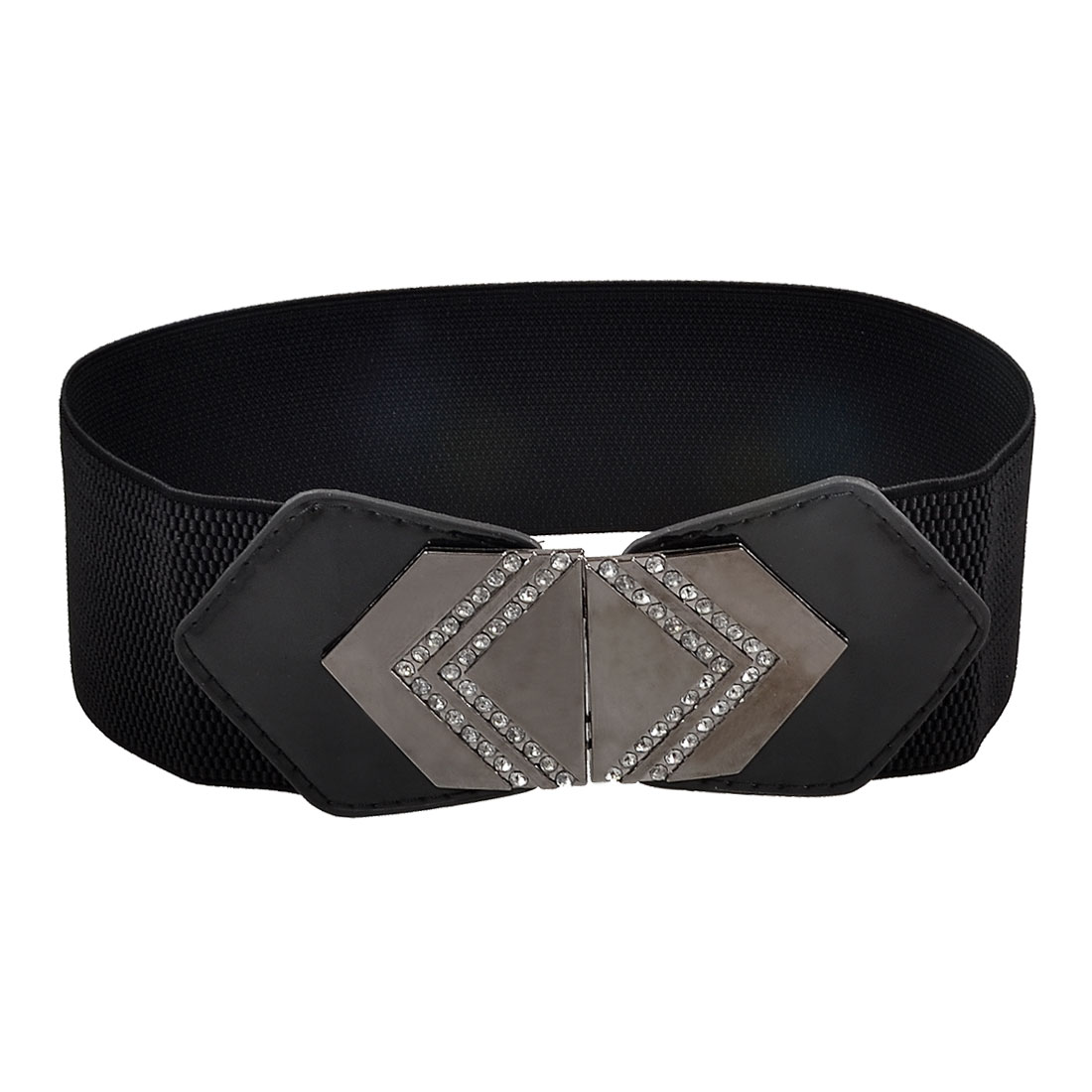 Ladies Rhinestone Inlaid Hexagon Buckle Black Faux Leather Elastic Waist Belt