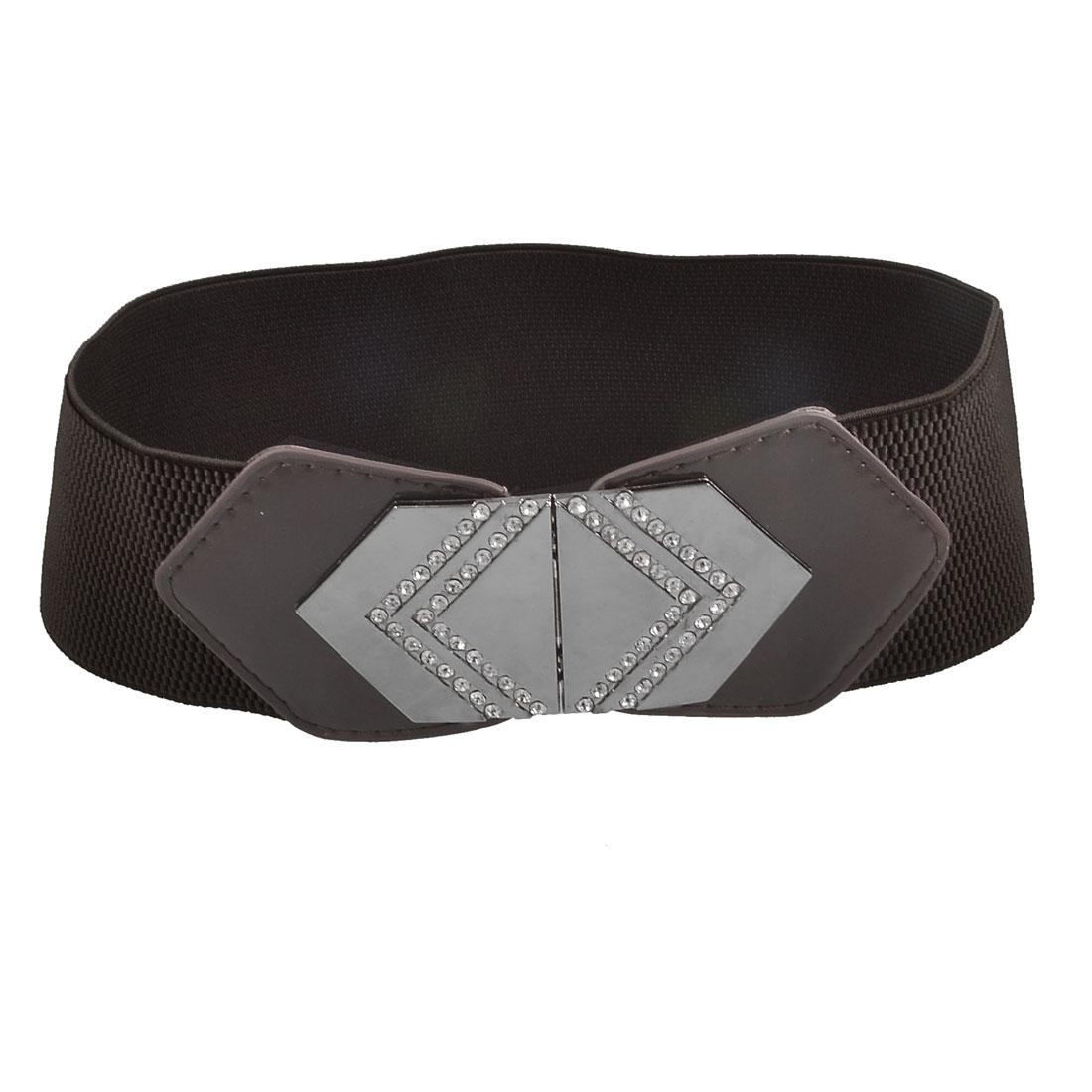 Women Rhinestone Accent Hexagon Buckle Coffee Color Faux Leather Elastic Belt