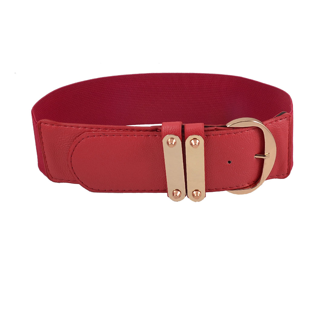 Red Faux Leather Textured Single Pin Buckle Ladies Stretchy Waistband Belt