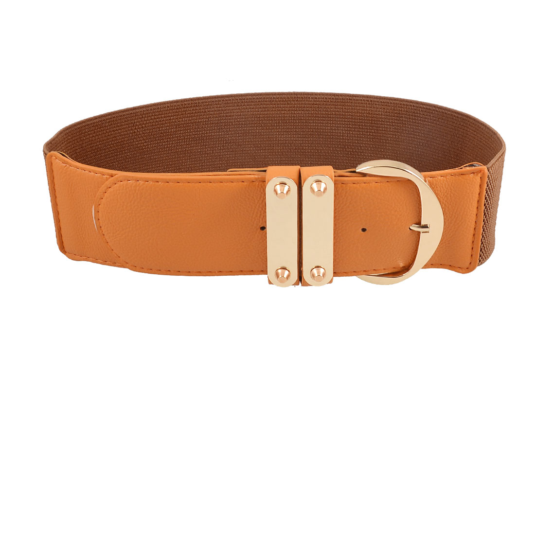 Brown Faux Leather Textured Single Pin Buckle Waistband Belt for Ladies