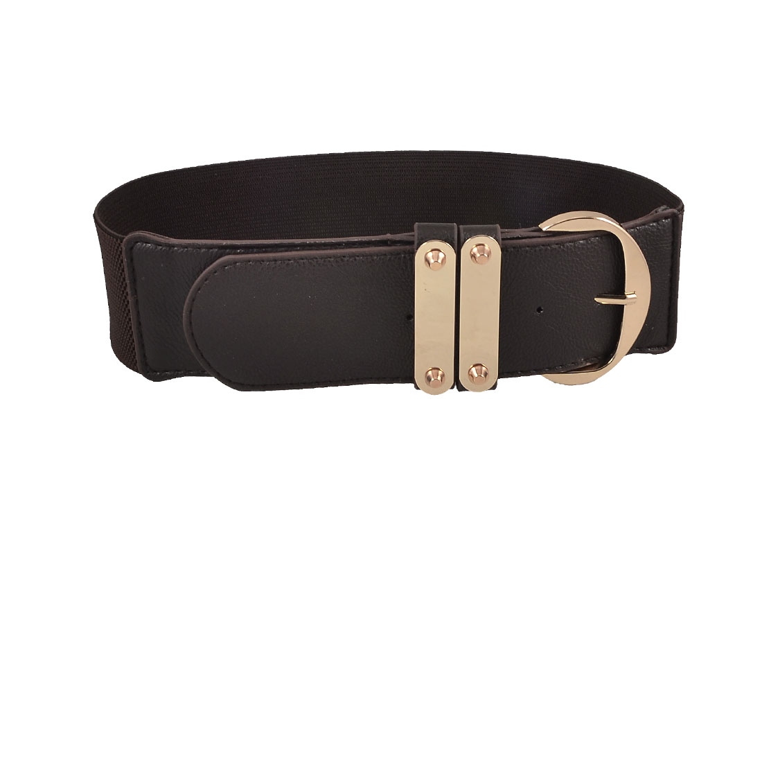 Lady Coffee Color Faux Leather Textured Single Pin Buckle Waistband Belt