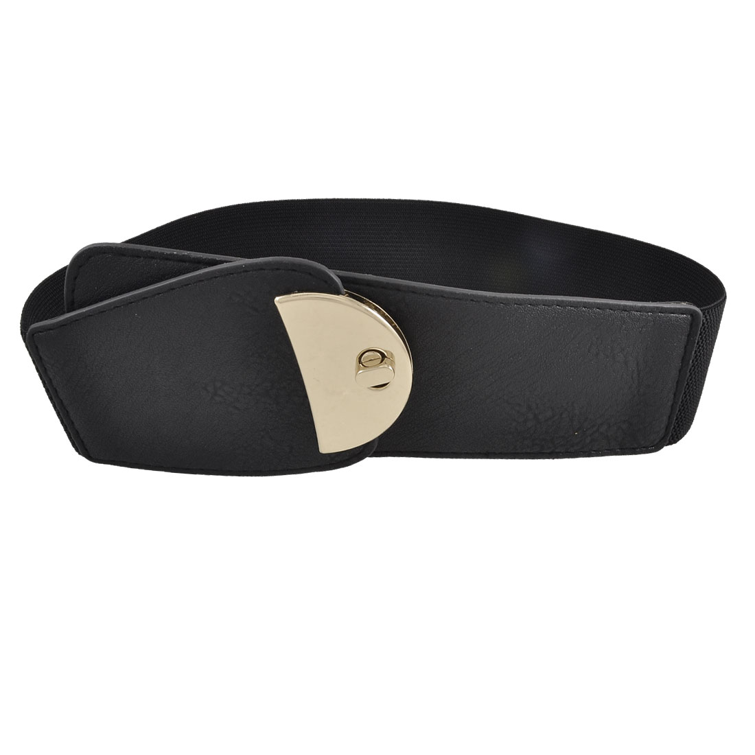 Lady Lychee Pattern Black Faux Leather Ends Turn Lock Buckle Waist Belt