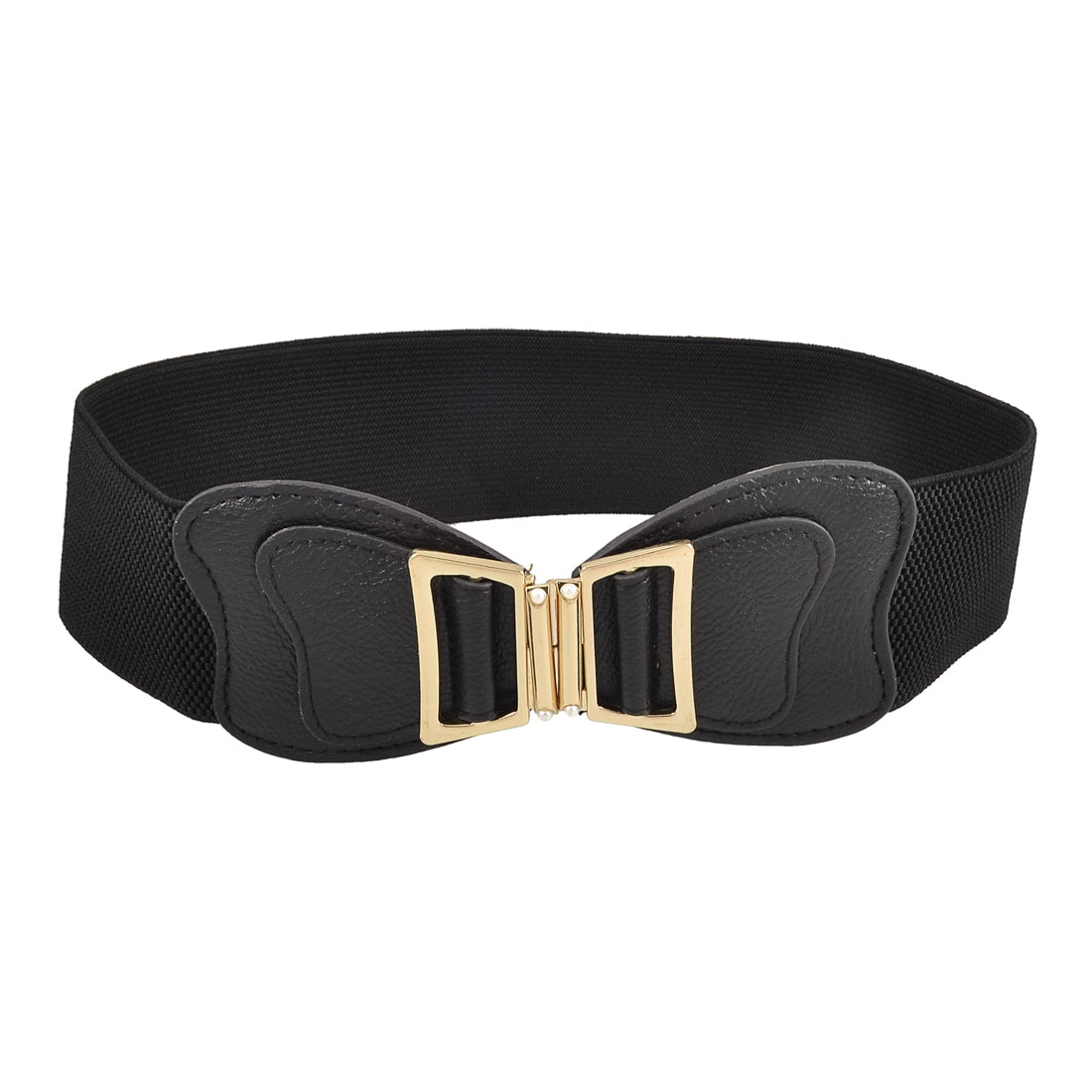 Women Plastic Pearl Inlaid Butterfly Decor Black Elastic Band Belt Cinch