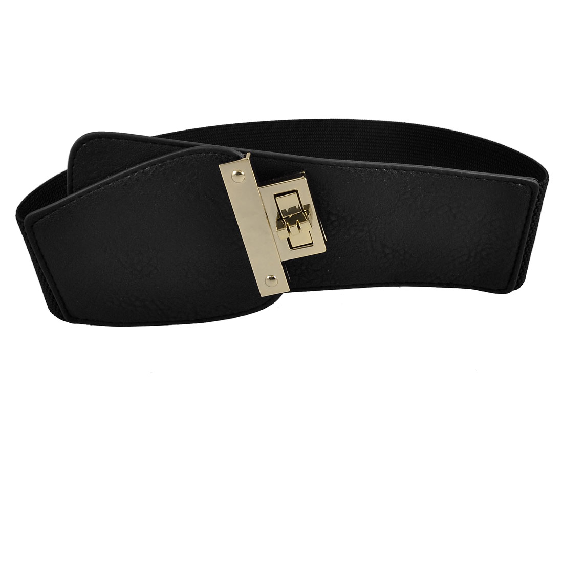 Lady Rectangle Turnlock Buckle Black Faux Leather Ends Elastic Waist Belt