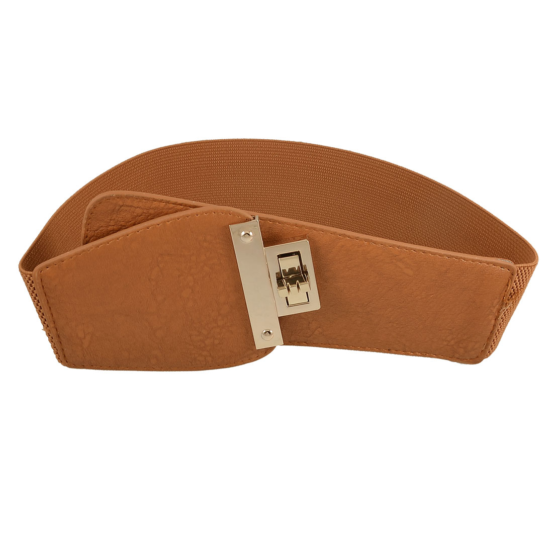 Rectangle Turnlock Buckle Ladies Brown Faux Leather Ends Stretch Waist Belt