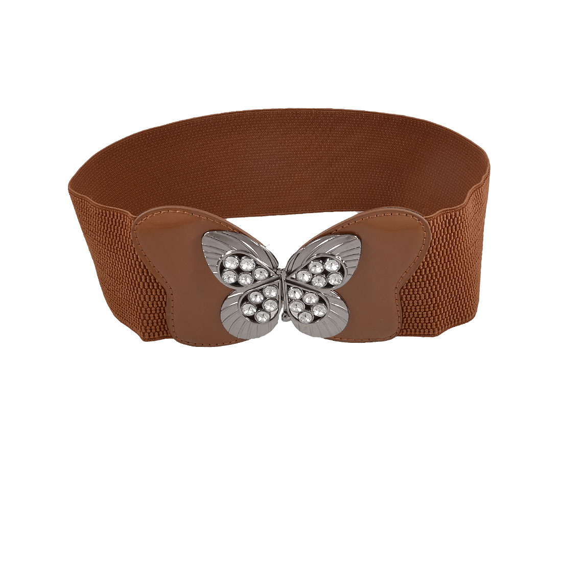 Hollow Butterfly Buckle Rhinestone Inlaid Brown Elastic Waist Belt for Ladies