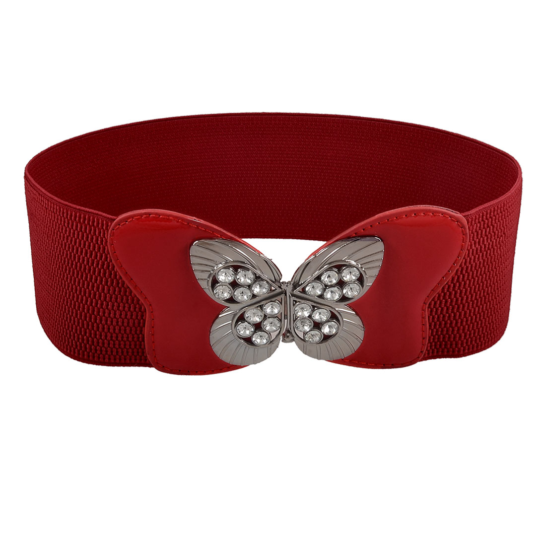 Hollow Butterfly Buckle Rhinestone Inlaid Red Stretchy Waistband for Lady